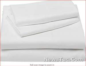 Deluxe Bright White, Queen Striped Polyester Bed Sheet Set