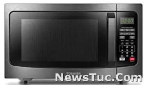 Smart Sensor Easy Clean Interior Toshiba Black Stainless Steel 1.2 Cu. ft Microwave Oven