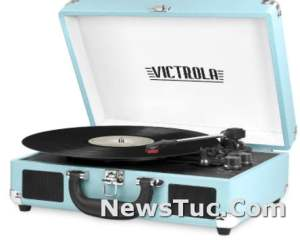 Victrola Vintage Bluetooth Built-in Speakers Portable Suitcase Record Player