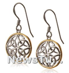Celtic Knot Wire Sterling Silver Round Drop Earrings