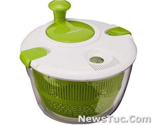 Green and White Hand washed Cuisinart Plastic 5 Quart Salad Spinner