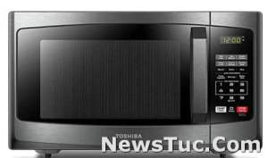 Black Stainless Steel Toshiba LED Lighting 0.9 Cu Ft, 900W Microwave Oven