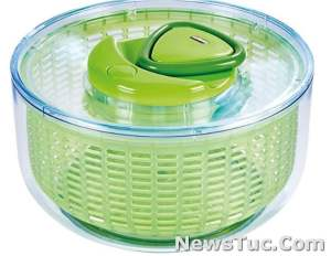 Stylish bowl Red Dot design 4-6 serving ZYLISS Easy Spin Large, Green, BPA Free Salad Spinner