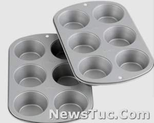 Dishwasher safe Wilton Recipe Right Non-Stick 6-Cup Standard Set of 2, Silver Muffin Baking Pan