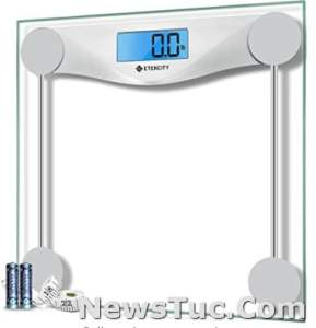 High Precision Measurements,6mm Tempered Glass, Large Blue LCD Backlight Display Digital Bathroom Digital Weight and Body Fat Scale
