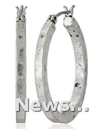 Small Hammered Lucky Brand Silver-Tone Round Hoop Earrings