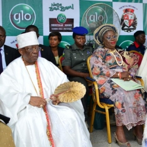 L-R: Olori Abimbola Balogun, wife of the Founder of First City Monument Bank (FCMB); Otunba Olasubomi Balogun, founder of FCMB, Mrs. Yetunde Onanuga, Ogun state, Deputy Governor, and the Awujale of Ijebuland, Oba Sikiru Adetona, during the Ojude Oba Festival held at Ijebu Ode in Ogun State on Saturday.
