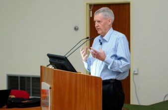Director of HarvestPlus, Dr Howarth Bouis, during a lecture on biofortification at the Conference Centre, IITA, Ibadan recently