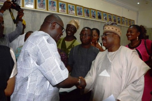 Governor Abiola Ajimobi, in handshake with Speaker Oyo-State House of Assembly who led other honourables of the House to congratulate the governor over victory at the Tribunal on Tuesday in Ibadan