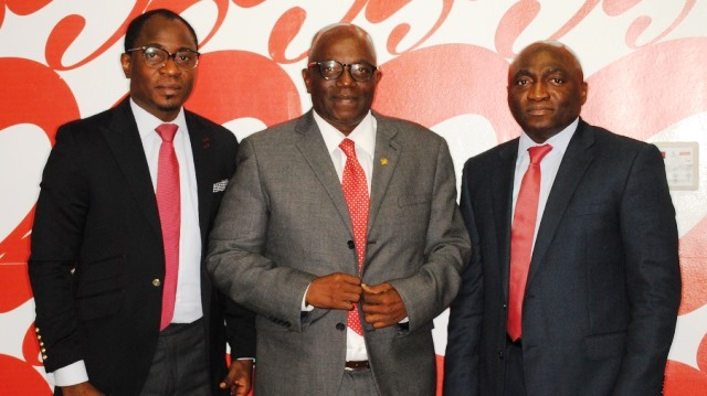 L-R: Adefemi Adeniran, Head, Public Relations, Airtel Nigeria; Sunday Adeyemi, Registrar/CEO, Chartered Institute of Personnel Management (CIPM) with Gbemiga Owolabi, Director, Human Resources, Airtel Nigeria, during a courtesy visit of the CIPM team to the telco's Banana Island headquarters on Tuesday