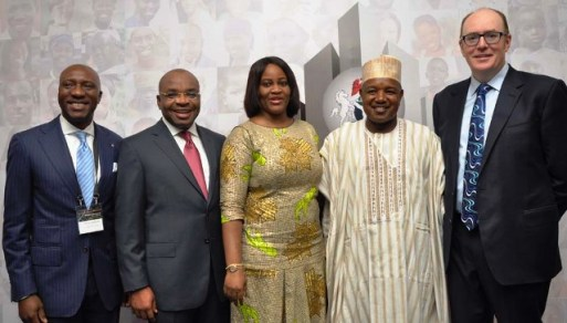 L – R: Mr. Oscar N. Onyema, Chief Executive Officer, The Nigerian Stock Exchange (NSE); Udom Emmanuel, Governor of Akwa Ibom State; Dr Chinelo Anohu- Amazu, Director General, Pension Commission of Nigeria (PenCom); Senator Abubakar A. Bagudu, Governor of Kebbi State; and Mr. Gerard Lyons, Adviser to the Mayor of London at the World Pension Summit Africa Special in Abuja on Monday