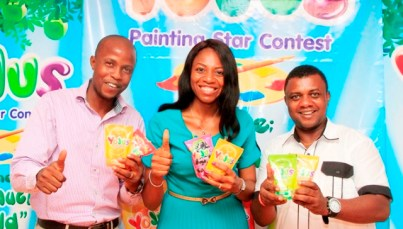 """L-R: Events and Promotion Manager, Yojus Fruit Drink, Adedotun Adelaja; Brand Manager, Yojus Fruit Drink, Foluke Makinde and Goddie Offose, President, Brand Journalist Association of Nigeria at Yojus """"Painting Star Contest"""" Press Event sponsored by Ranona Limited, a member of Olam Group held  in Lagos"""