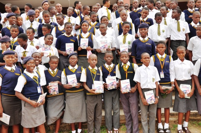 Students of Abeokuta Grammar School, Abeokuta, Ogun State with copies of Enterprise Development for Schools and Colleges