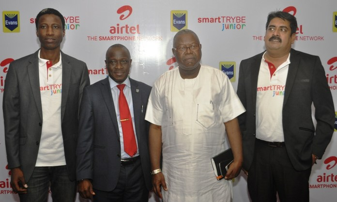 L-R: Head, Youth segment, Airtel Nigeria, Segun Aderinokun; Managing Director, Evans Publishing Group, Lukman Dauda; Chairman, Mobi Tutor Systems Ltd, Ayo Afolabi; and Vice President, Segment, Usage and Retention, Airtel Nigeria, Dinesh Balsingh at the launch of Airtel Smart Trybe Junior in Lagos on Tuesday