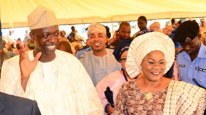 From right, Deputy Governor State of Osun, Mrs Titi Laoye-Tomori; Member, Osun House of Assembly, Hon. Israel Aloba and Chairman, Osun House of Assembly Committee on Information and Strategy, Honourable Olatunbosun Oyintiloye, during Oyintiloye's mother burial in Ibokun, State of Osun on Saturday 28-11-2015
