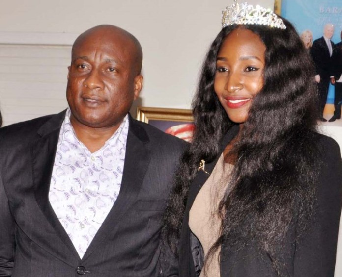 Chairman/Chief Executive Officer, Air Peace Airline, Barr. Allen Onyema (left) and Air Peace Airline Ambassador, Miss. Nigeria 2015, Leesi P. Peter-Vigboro during her courtesy visit to Air peace Airline at the Company's Headquarters, Ikeja, Lagos
