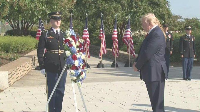 Trump speaks at the Pentagon commemorating 9-11