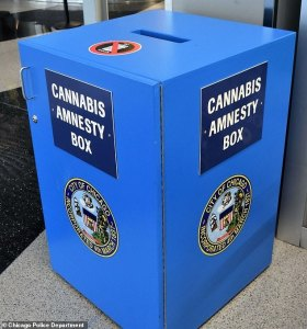 An 'Unknown object' stolen from Chicago Midway Airport's Cannabis Amnesty box