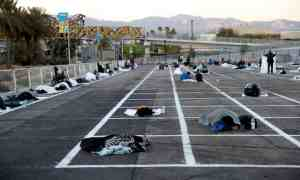 Las Vegas' parking lot becomes a homeless shelter with social distance markers