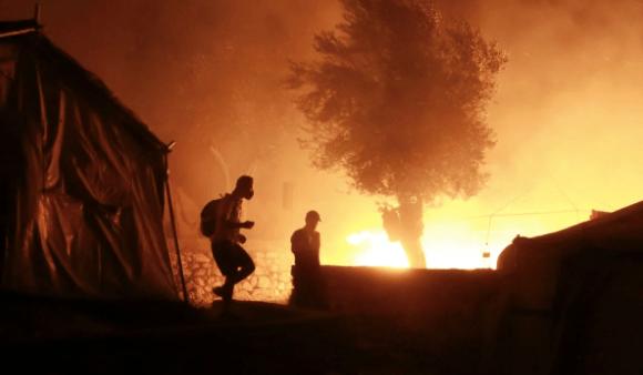 Fires erupt at Greece's largest refugee camp