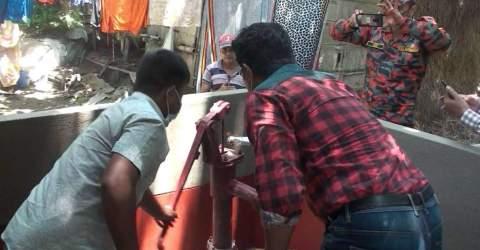 সুনামগঞ্জের শালমারা গ্রামের রহস্যজনক আগুনের ঘটনাস্থল পরিদর্শন করেছে বাপেক্স