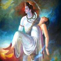 Shiva trägt tote Parvati
