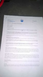 Letter of admission at the college.