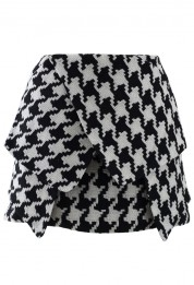 asymmetric houndstooth bud skirt