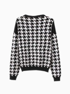 houndstooth crew neck knit top