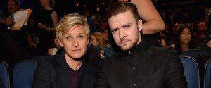 LOS ANGELES, CA - JANUARY 08: TV personality/comedian Ellen DeGeneres (L) and musician/actor Justin Timberlake attend The 40th Annual People's Choice Awards at Nokia Theatre LA Live on January 8, 2014 in Los Angeles, California. (Photo by Lester Cohen/WireImage) | Lester Cohen via Getty Images