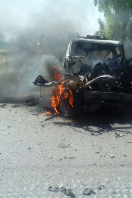 One of the terrorists vehicle destroyed in action