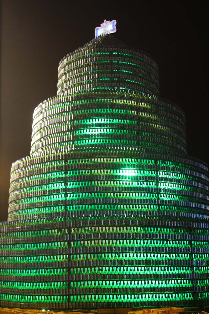 Bottle Tree made with 8,000 bottles of Star Beer