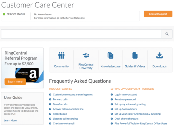 Getting Support from RingCentral