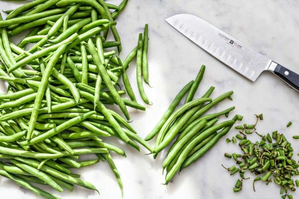 Fresh Green Bean Salad - green beans with the ends trimmed