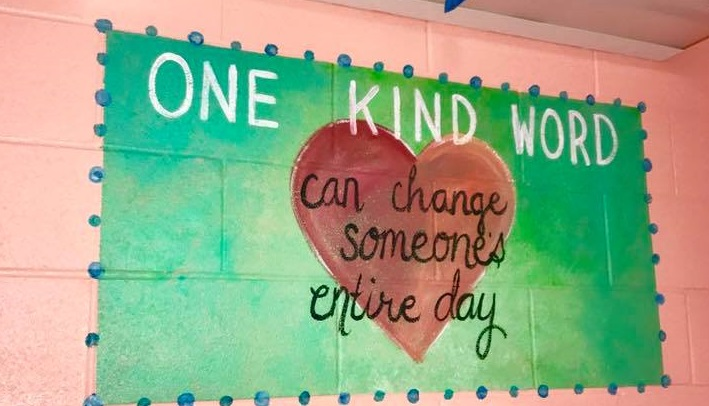 Mom Paints Motivational Murals in Middle School Bathroom