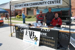 Mayor Rick Milne, FAB supporter Ray Lisk, and FAB supporter Jim Milligan at the Beeton Honey & Garden Festival.