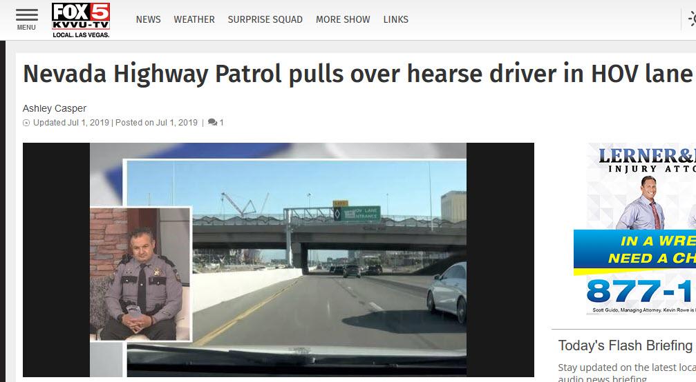 Las Vegas Hearse In Hov Lane With Dead Body Gets Insane Media Pickup