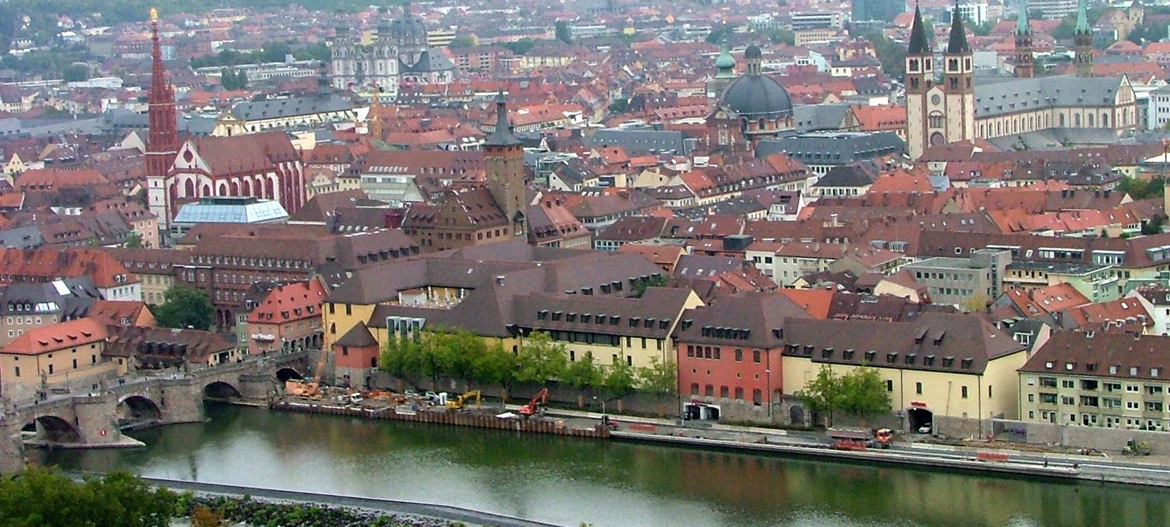 Wurzburg Old Bridge and the city from the fortress