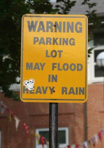 Library flooding warning sign