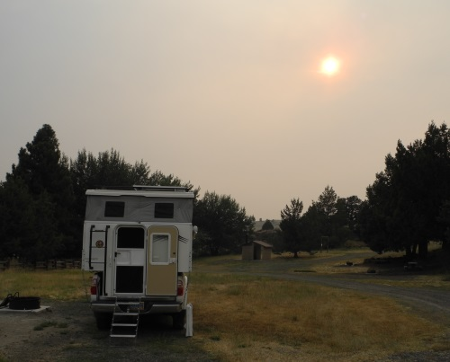 Camping, smoky sky, northern California, CA
