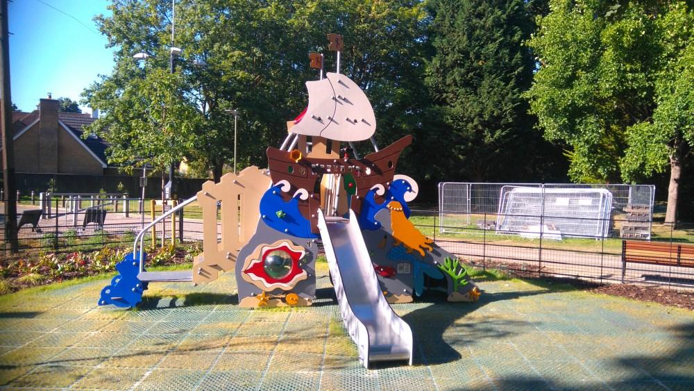 Pirate ship climbing frame, Cassiobury Park