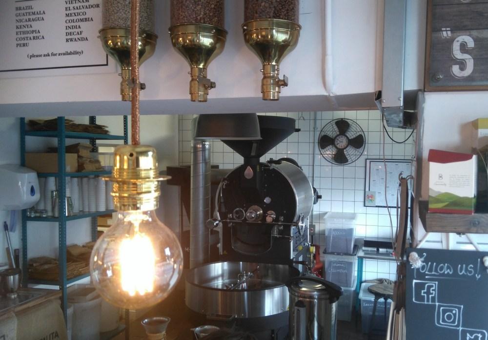 The Garanti roasting machine in the back of the shop.