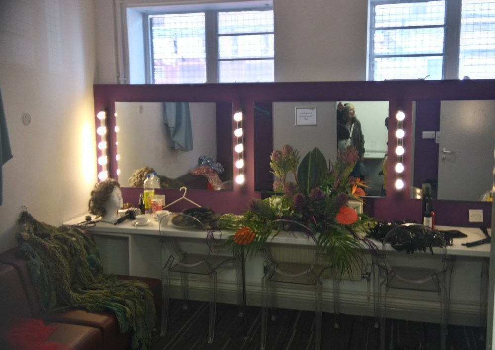 Inside one of the dressing rooms.