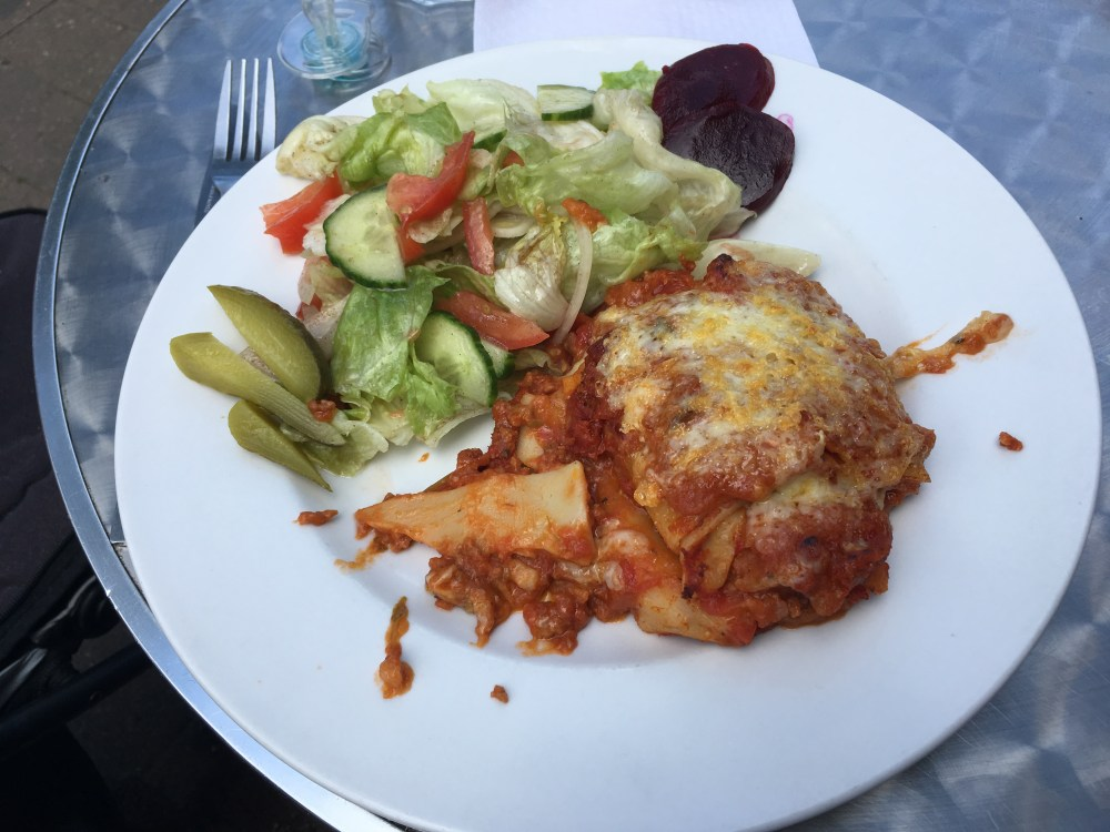 Lasagne and salad