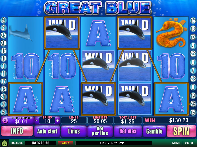 "Newtown Casino Mobile ""Great Blue"" Free Slot Game!"