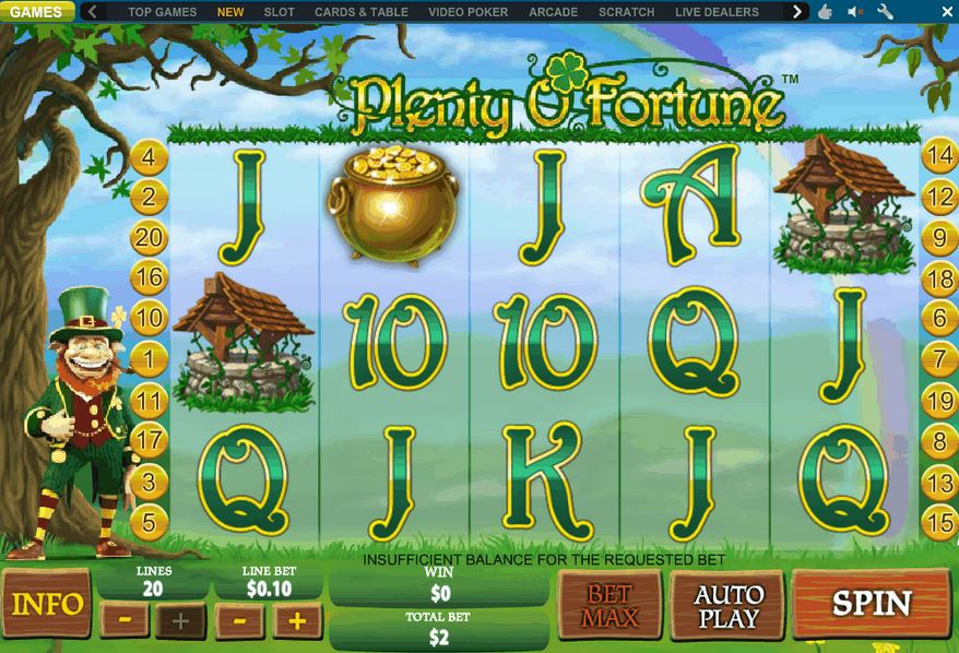"Newtown Casino Lucky Slot Game ""Plenty O Fortune"" !"
