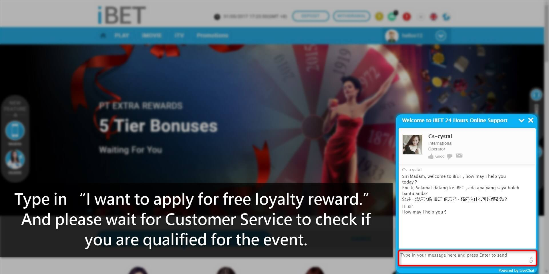 iBET Loyalty Reward Free Credit tutorial