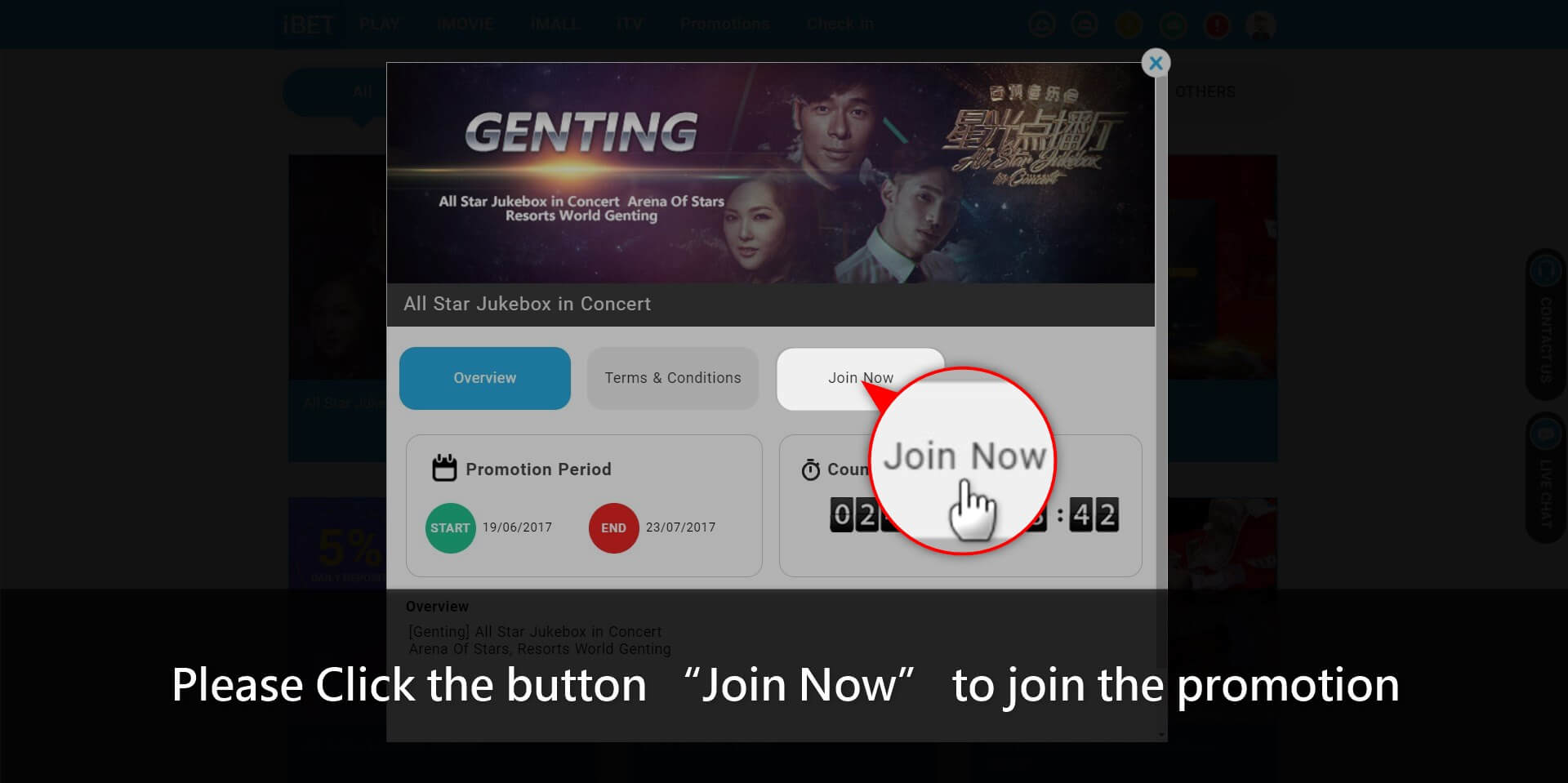 How to get iBET All Star Jukebox in Concert
