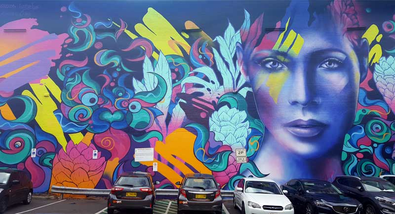 Ruskidd, George Rose, Shannon Crees Mural in Wilson Street Car Park