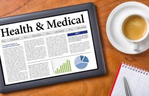 Health and Medical News on an iPad with Coffee